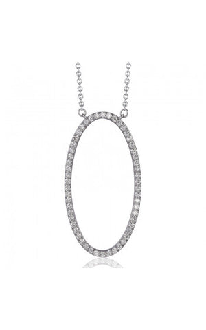 Oval 14K white gold diamond pendant