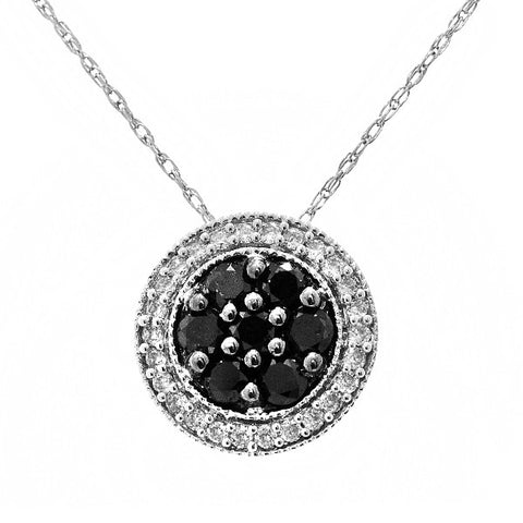 Black and White Diamond Cluster Necklace