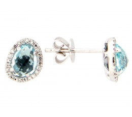 Rose Cut Blue Topaz Earrings