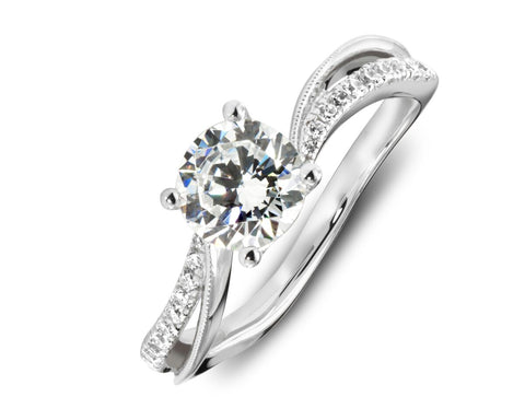 18K White Gold Diamond Bypass Engagement Ring with Beaded Design