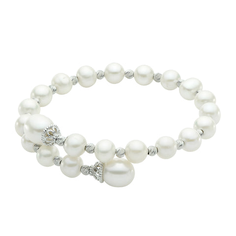 Sterling Silver Freshwater Pearl and Shimmer Bead Bangle
