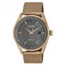 Citizen Men's Stainless Steel Rose Gold Mesh Bracelet Band Grey Dial
