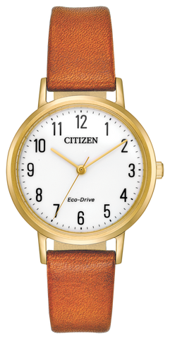 "Ladies Citizen Eco-Drive ""Chandler"" Yellow Gold Tone Stainless Steel Watch"