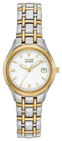 "Ladies Citizen Eco-Drive ""Corso"" Two Tone Watch with White Dial"