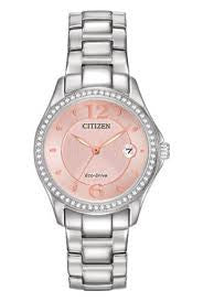 Citizen Eco-Drive Women's Silhouette Crystal Watch with Swarovski Accents Pink Rose Dial