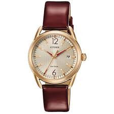 Citizen Drive by Eco-Drive Ladies Leather Rose Gold-Tone Watch with Date