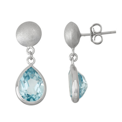 Sterling Silver Brushed Bead and Bezel Set Teardrop Blue Topaz Dangle Earrings
