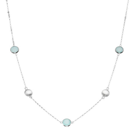 Sterling Silver Bezel Set Aqua Chalcedony and Brushed Silver Bead Station Necklace