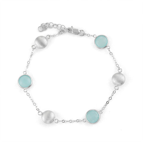 Sterling Silver Station Bracelet with Aqua Chalcedony and Brushed Silver Beads