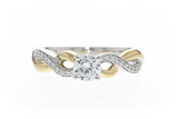 Ladies Diamond Semi-Mount Ring 14K White Gold and Yellow Gold