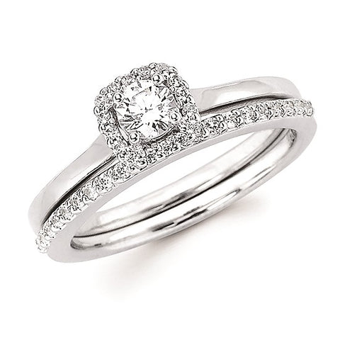 14K White Gold Halo Diamond Engagement Ring