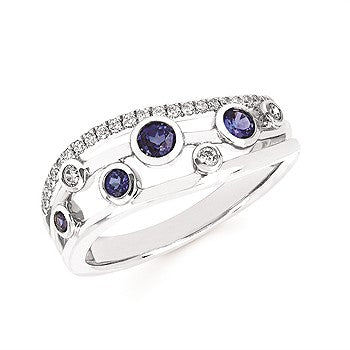 14K White Gold Bezel Set Diamond and Sapphire Ring