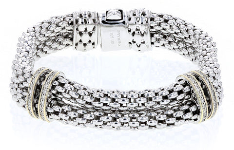 Sterling Silver and 14K Yellow Gold Diamond Bracelet