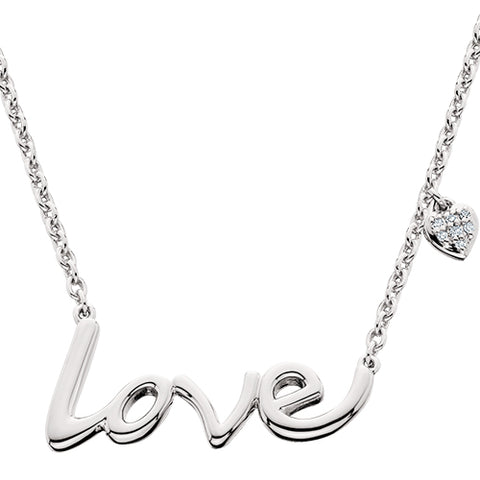 Sterling Silver Love Necklace With Diamond Heart Accent