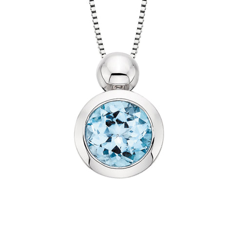 Sterling Silver Bezel Set Blue Topaz Necklace