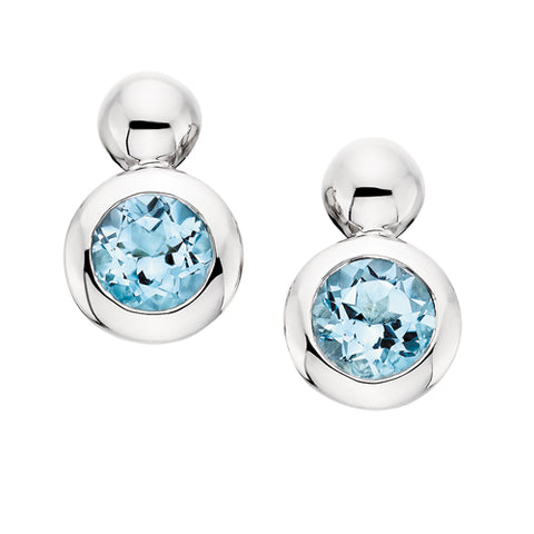 Sterling Silver Bezel Set Blue Topaz Earrings