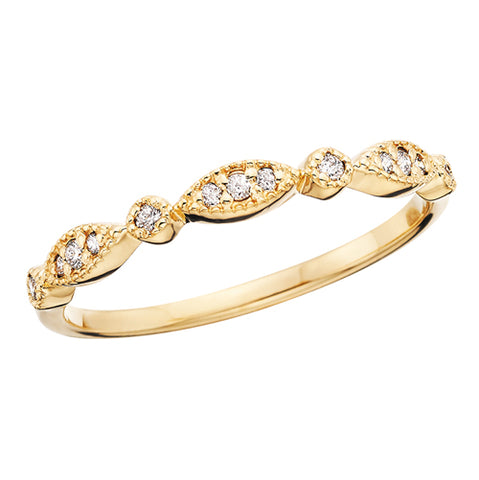 Yellow Gold Marquise and Round Shape Diamond Band
