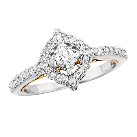 14K White Gold Diamond Ring With Yellow Gold Accents