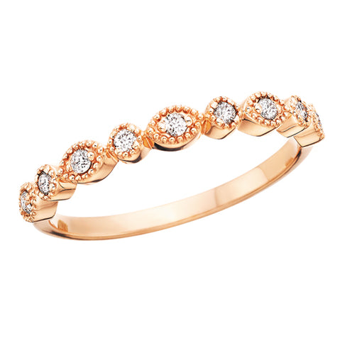 Rose Gold Beaded Diamond Stackable Ring