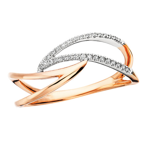 Rose Gold Diamond Wave Ring