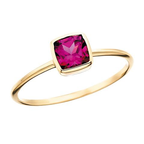 Yellow Gold Rhodolite Garnet Stackable Ring