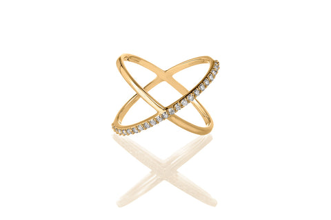 14K Yellow Gold Diamond Criss Cross Ring