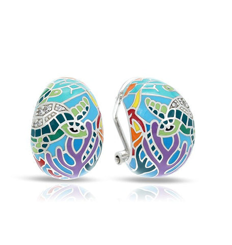 Belle E'toile Aqua Sea Turtle Earrings with Omega Backs