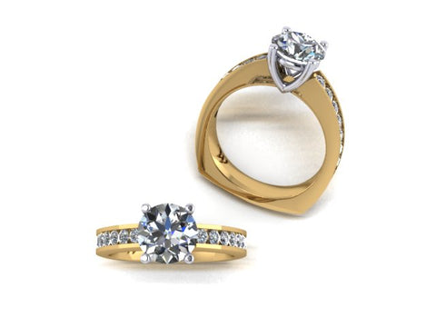 14K Yellow and White Gold Engagement Ring