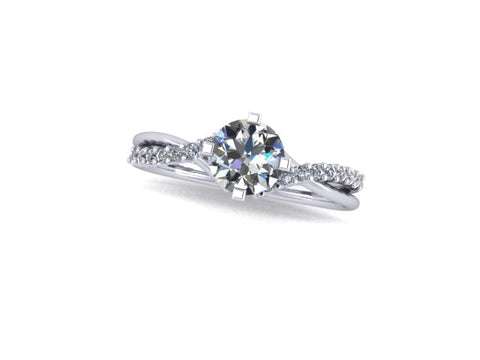 14K White Gold Split Shank Engagement Ring with Accent Diamonds