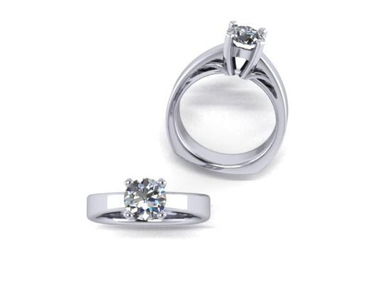 Open Cathedral Profile Solitaire Palladium Engagement Ring