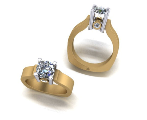 Satin Finish Yellow Gold Engagement Ring with Surprise Diamonds