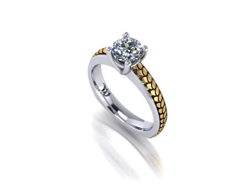 14K Yellow Gold Leaf Inlay Diamond Solitaire 14K White Gold Engagement Ring - West and Company Signature Series