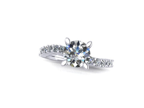 Opposing Curves Diamond Engagement Ring in 14K White Gold - West and Company Signature Series