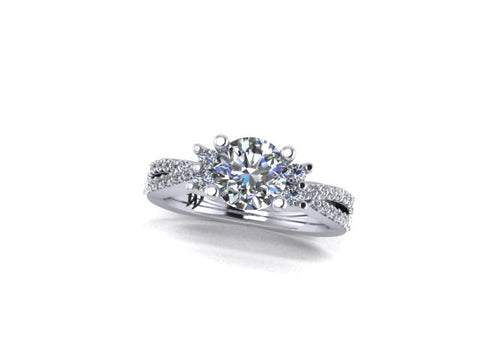 Split Shank Quad Accent Diamond Engagement Ring in 14K White Gold - West and Company Signature Series