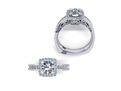 Princess Cut Halo Diamond Engagement Ring in 14K White Gold - West and Company Signature Series