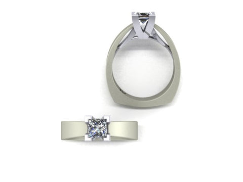 14K Satin White Gold Solitaire Princess Cut Diamond Engagement Ring - West and Company Signature Series