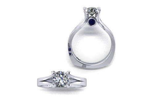 Solitaire Split Shank Diamond Engagement Ring with Surprise Sapphires in 14K White Gold