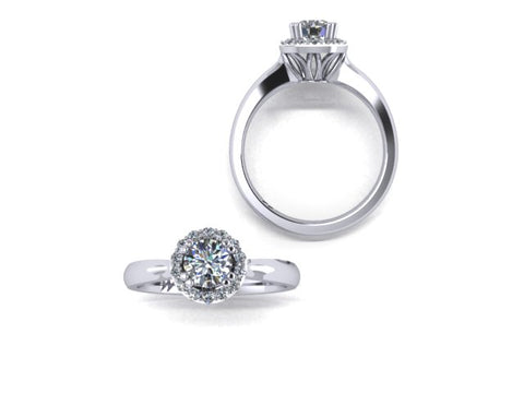Halo Solitaire Diamond Engagement Ring in 14K White Gold - West and Company Signature Series