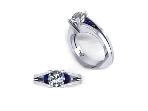 Split Shank Diamond Engagement Ring with Sapphire Accents in 14K White Gold