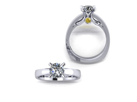 Solitaire Engagement Ring with Yellow Surprise Diamonds in 14K White Gold - West and Company Signature Series