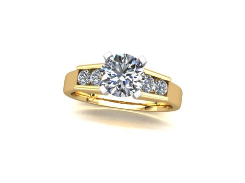 Solitaire Diamond Engagement Ring with Channel Set Accent Diamonds in 14K Yellow Gold - West and Company Signature Series