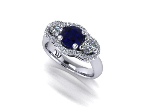 Three Stone Halo Sapphire and Diamond Engagement Ring in 14K White Gold - West and Company Signature Series