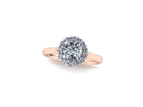Round Halo Diamond Engagement Ring in 14K Rose Gold - West and Company Signature Series