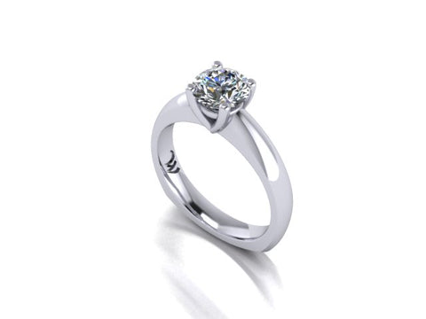 Solitaire Diamond Engagement Ring in 14K White Gold - West and Company Signature Series