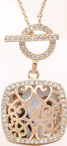 Rose Gold Plated Swarovski Crystal Toggle Locket Pendant