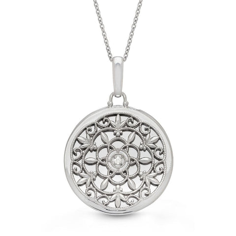 Sterling Silver Locket Pendant With Diamond Accent