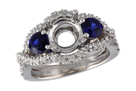 14K White Gold Sapphire and Diamond Semi-Mount