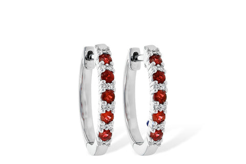 14K White Gold Ruby and Diamond Hoop Earrings