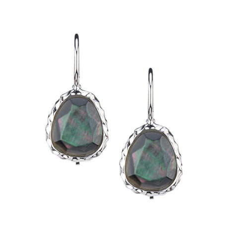 Frederic Duclos Sterling Silver Dyed Black Mother of Pearl Earrings
