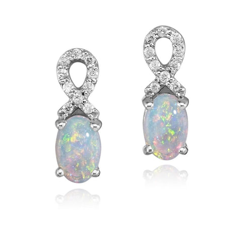 Australian Opal and Diamond Earrings in 14K White Gold